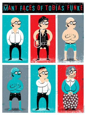 """The Many Faces of Tobias Funke"" by Doe Eyed Design - arrested-development Fan Art"