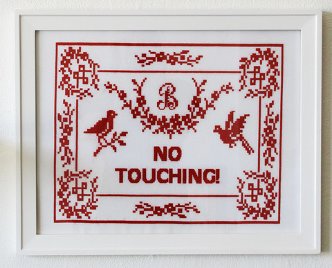 "Arrested Development wallpaper possibly containing a sign titled ""There's No Place Like Bluth"" Needlepoint by Eileen Schinderman"