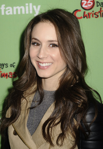 Troian Bellisario wallpaper containing a portrait called  Troian at ABC Family's 25 Days Of Christmas Winter Wonderland (2011)