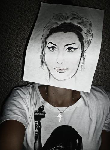 Amy Winehouse charcoal
