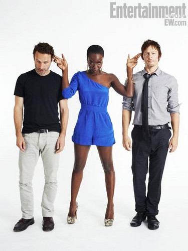 The Walking Dead Hintergrund entitled Andrew Lincoln,Danai Gurira,Norman Reedus