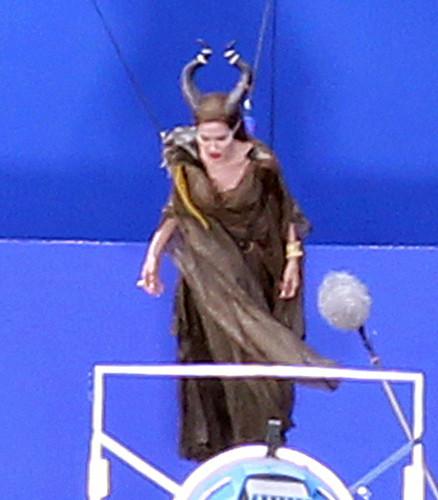 Angelina Jolie Takes Flight On Set