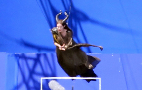 Angelina Jolie Takes Flight On Set