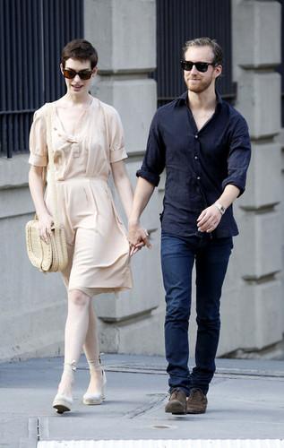 Anne Hathaway and Adam Shulman Take a Walk [July 12]
