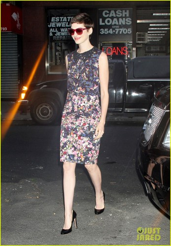 Anne Hathaway heading into the Today show studios