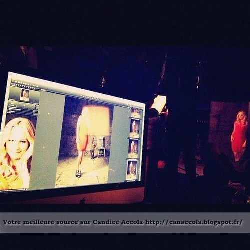 """BTS sneak peeks of Candice at her promo shoot for """"The Vampire Diaries"""" season 4."""