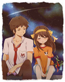 Bamboo Leaf Rhapsody- Kyon/ John Smith and middle school Haruhi - kyon-the-melancholy-of-haruhi-suzumiya fan art