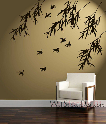 Birds and Bamboo mural Stickers