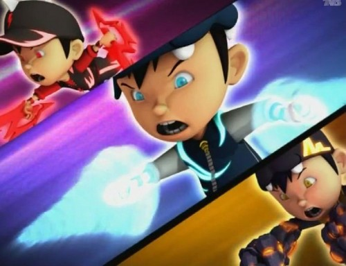 Boboiboy achtergrond probably with anime and a portrait called Boboiboy Halilintar, Taufan Dan Gempa