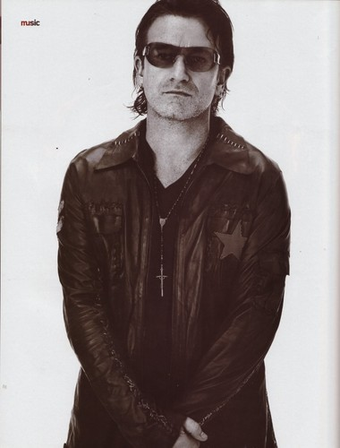 U2 wallpaper probably with sunglasses and an outerwear titled Bono (Details, November 2001)