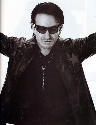 U2 wolpeyper with sunglasses and an outerwear titled Bono (Details, November 2001)