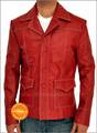 Brad Pitt Fight Club Red Leather Jacket - fight-club photo