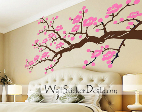 Home Decorating wallpaper containing a hotel room, a bedroom, and a twin bed titled Cherry Blossom Branches Wall Stickers