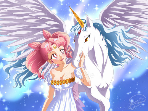 Sailor Mini moon (Rini) Hintergrund containing Anime called Chibiusa and Pegasus