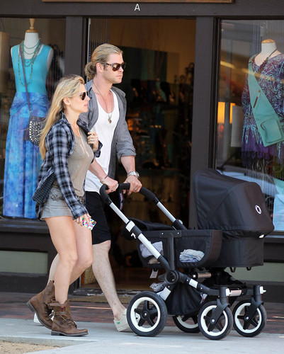 Chris Hemsworth Takes a Walk with the Family