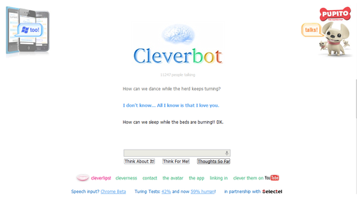 Cleverbot - Epic Midnight Oil reference!! (and Cleverbot saying she loves me again)