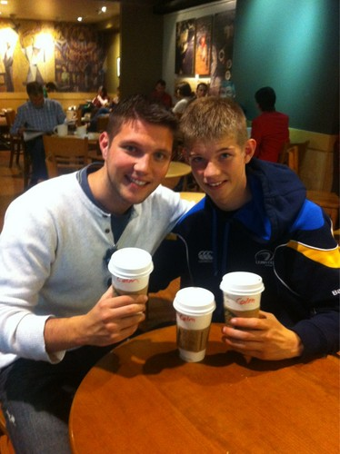 Colm and his little brother at starbucks