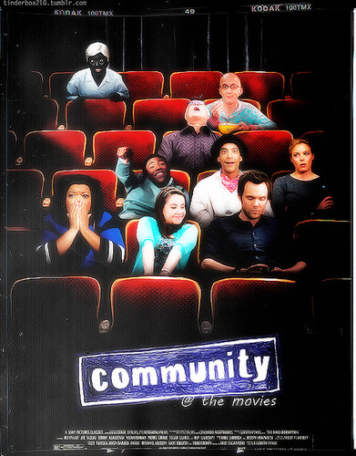 Community achtergrond possibly containing a multiplex and anime entitled Community cast at Comic Con 2012
