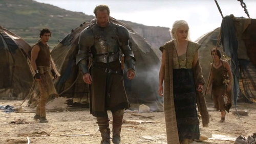 Daenerys Targaryen wallpaper possibly with a green beret, a horse wrangler, and a rifleman entitled Dany and Jorah