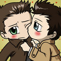 Dean & Cas - Cheek Kiss!