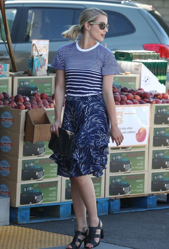 Dianna Agron wallpaper probably containing a supermarket entitled Dianna & Naya Shop at Whole Foods - July 9, 2012