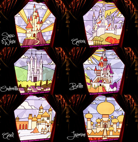 迪士尼 Princess Stained Glass Castles