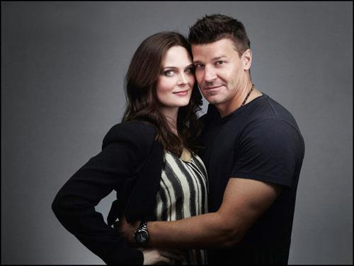 Emily Deschanel wallpaper with a portrait titled Emily with David Boreanaz at Comic Con 2012