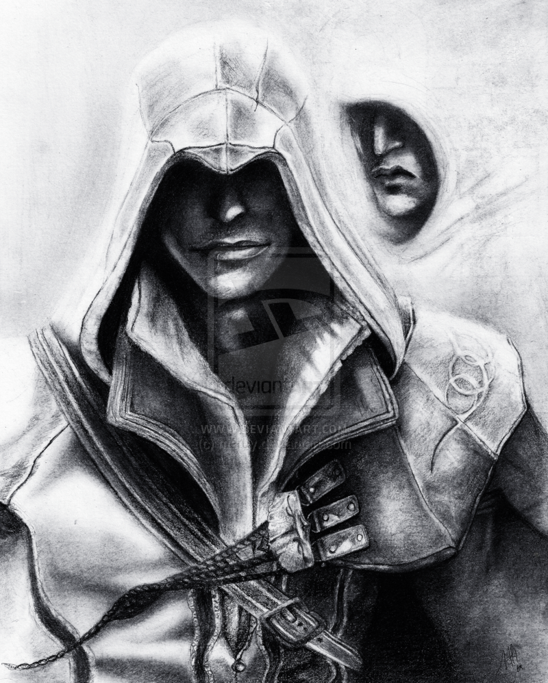 Ezio Assassins Creed Graphite Drawing Assassins Creed Fan Art