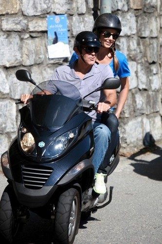 George Clooney and Stacy Keibler Ride a Scooter [July 12, 2012]