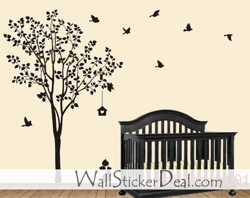 Happy baum with birds Wand Sticker