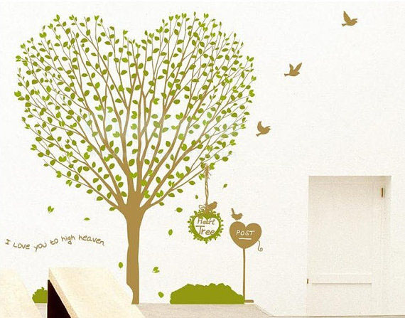 hati, tengah-tengah pokok I Cinta anda To High Heaven dinding Sticker