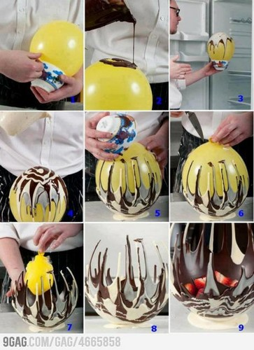 How to make a chocolat bowl using a ballon!