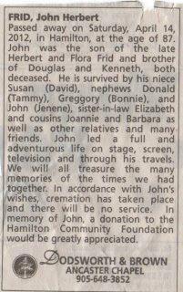 Jonathan Frid's Obituary