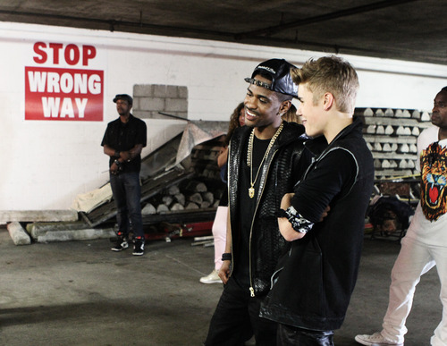 Justin Bieber and Big Sean on the set of As Long As You Love Me.