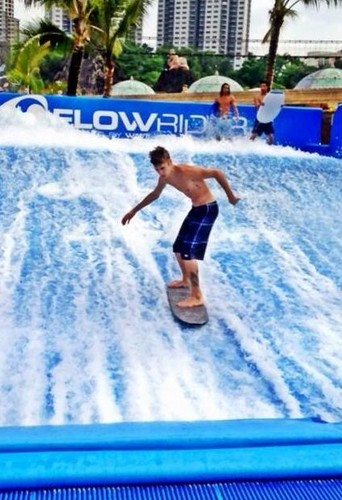 Justin surfing in Malaysia