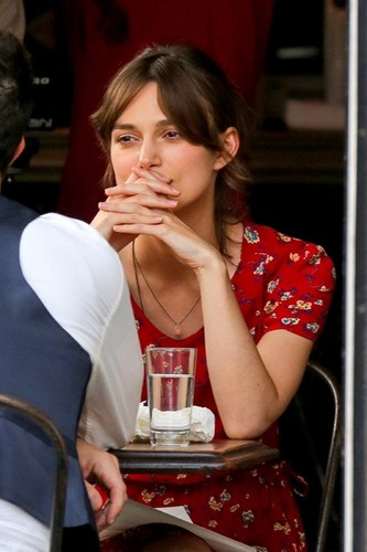 """Keira on the set of her upcoming film """"Can a Song Save Your Life?"""""""