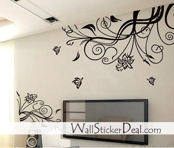 Home Decorating Images Lovely Flower With Butterfly Wall Stickers Wallpaper And Background