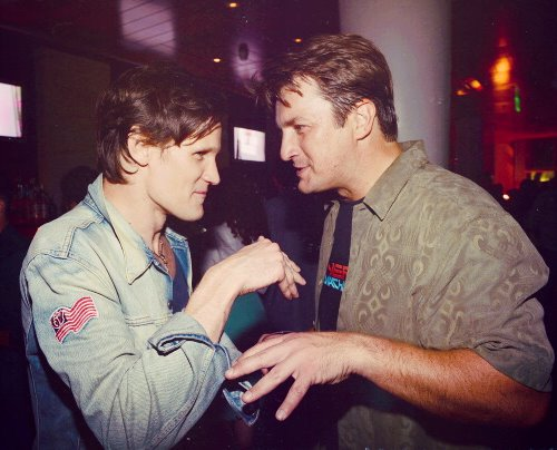 Matt Smith with Nathan Fillion at Comic Con 2012