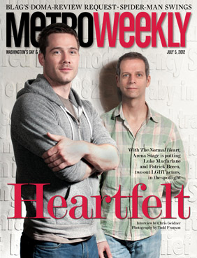 Luke Macfarlane Hintergrund possibly containing a sign, a workwear, and a well dressed person called Metro Weekly - 05/07/2012 (USA)