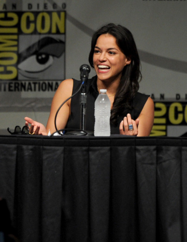 Michelle Rodriguez hình nền entitled Michelle - Comic-Con International 2012 -Screen Gems' Resident Evil Retribution Panel - July 13, 201
