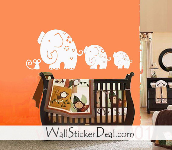 Mom And Baby Elephants Play With Mouse Wall Stickers