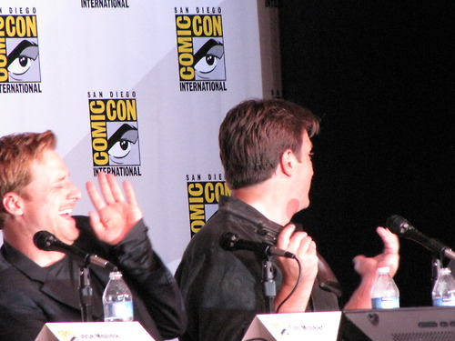 Nathan Fillion پیپر وال possibly containing a business suit titled Nathan Fillion and Firefly Cast at Comic Con 2012