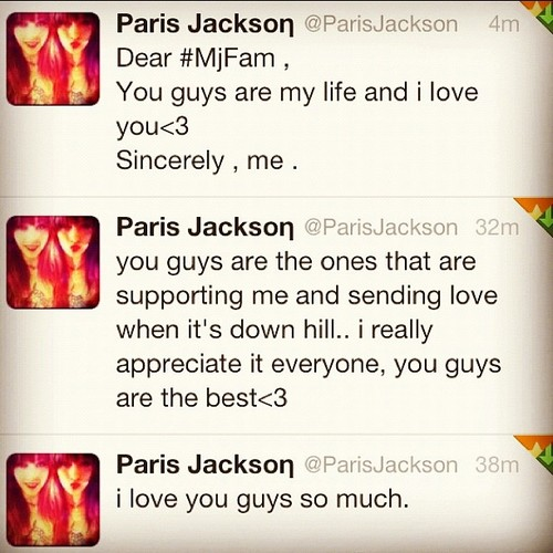 Paris Jackson's tweets so sweet ♥♥♥♥♥