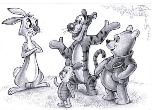winnie the pooh wallpaper containing anime titled Pooh, Rabbit, Tigger and Piglet