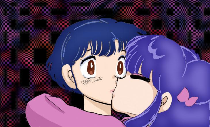 Ranma 1/2 Shampoo and Akane (kiss?)