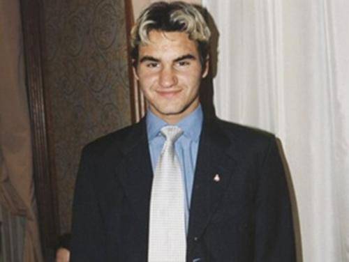 Roger Federer black and white hair