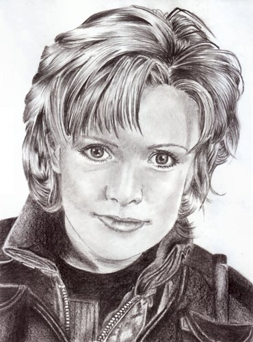Samantha Carter achtergrond possibly with a portrait entitled Sam