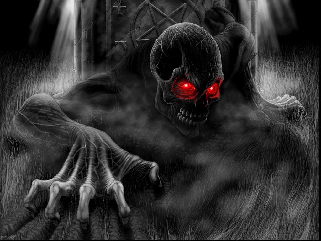 Scary Skeleton Red Eyes