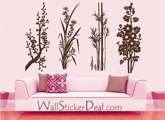 Small Garden بیر Blossom orchid bamboo and کرسنتیمم, گل داؤدی دیوار Sticker