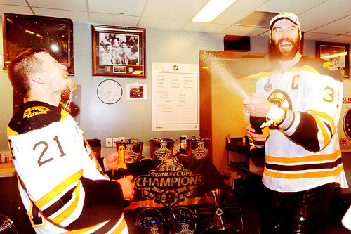 Stanley Cup 2011 - Locker Room Celebration - Andrew Ference & Zdeno Chara